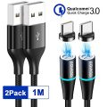 RAVIAD Magnético Cable USB Tipo C, [2 Pack, 1M] Magnetico Cargador Tipo...